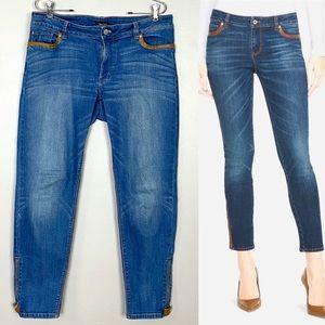 White House Black Market Faux Leather Trim Jeans